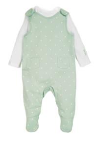 C&A Baby Club boxpak + romper groen/wit, Mintgroen/wit
