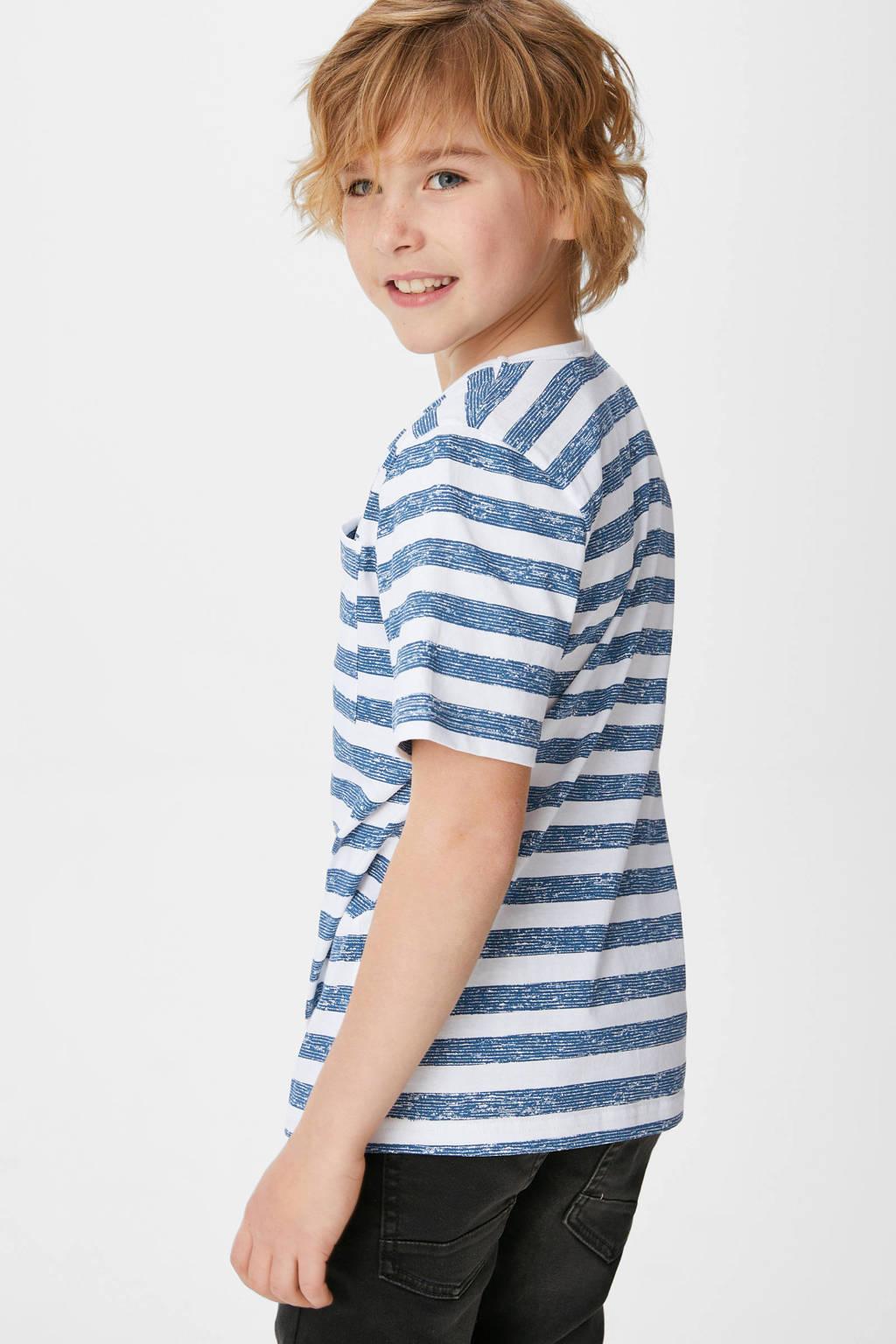C&A T-shirt - set van 2 blauw/donkerblauw/wit, Blauw/donkerblauw/wit