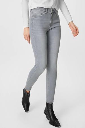 high waist skinny jeans met biologisch katoen grijs