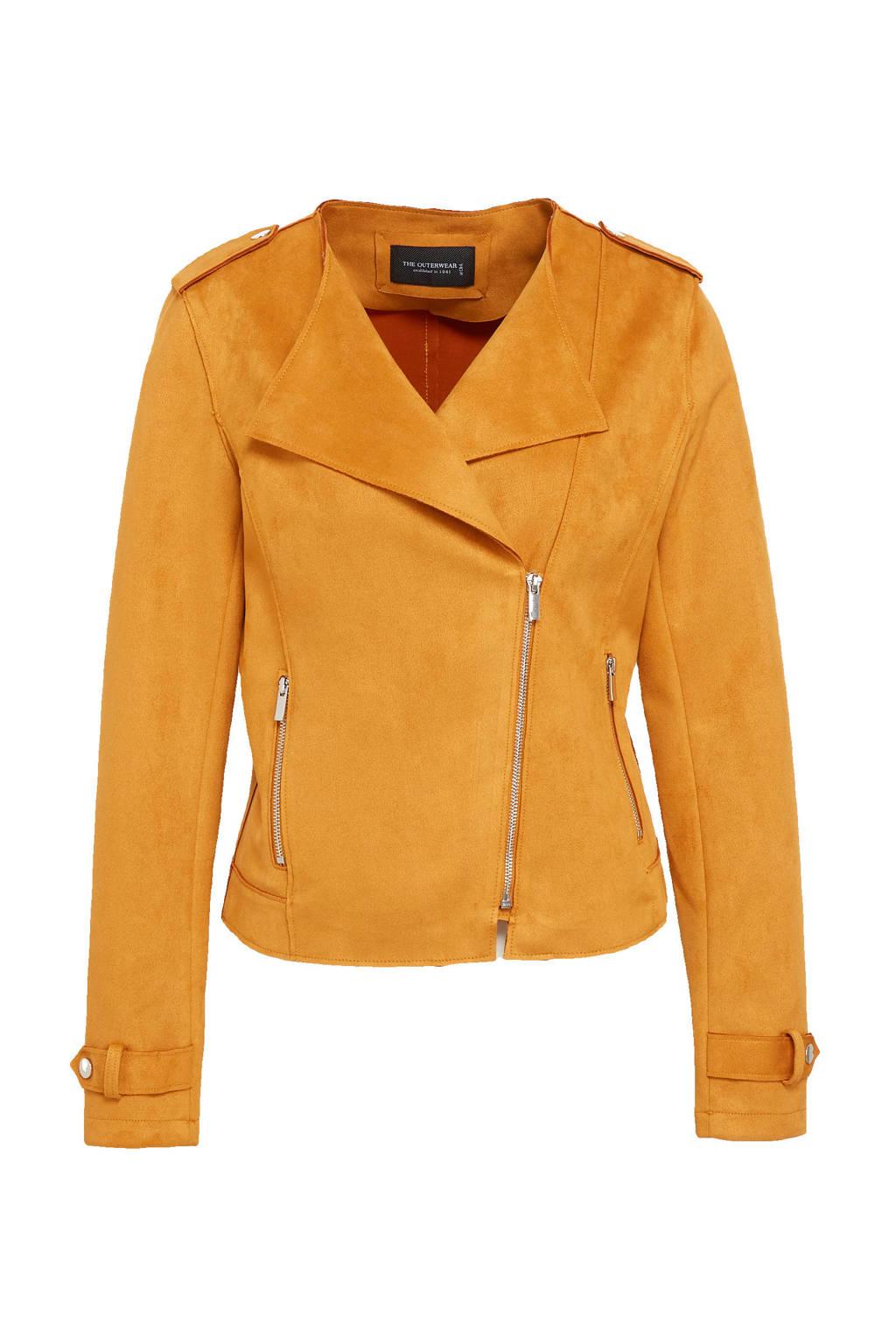 C&A The Outerwear velours bikerjack oker, Oker