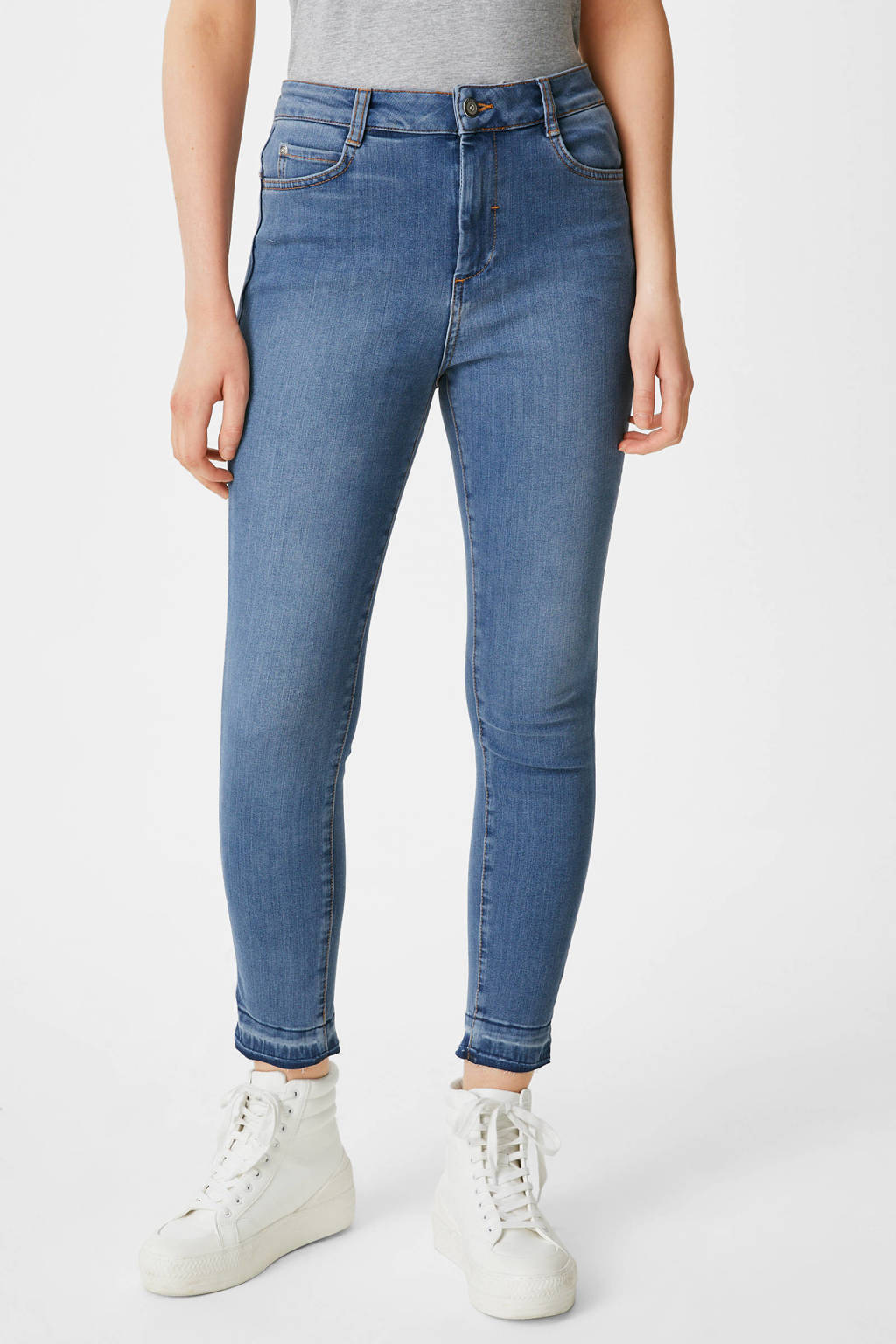 C&A Yessica cropped slim fit jeans blauw, Blauw