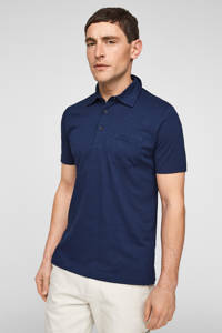 s.Oliver gemêleerde regular fit polo blauw, Blauw