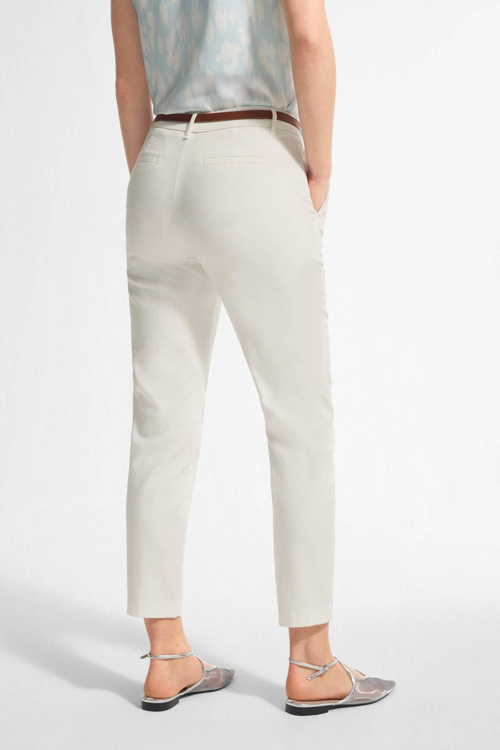 comma cropped regular fit broek wit, Wit