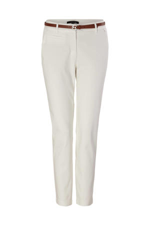cropped regular fit broek wit