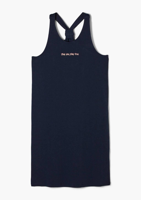 s.Oliver jurk met tekst donkerblauw, Donkerblauw