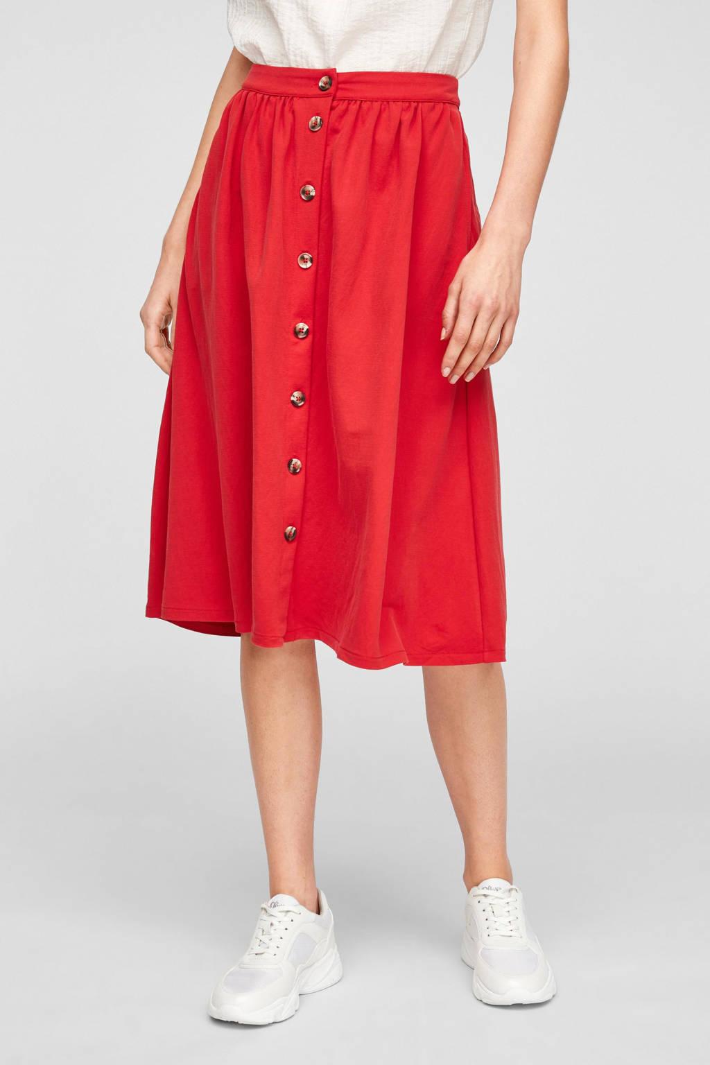 s.Oliver midi rok met plooien rood, Rood