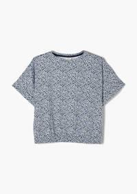 s.Oliver gebloemd T-shirt blauw/wit, Blauw/wit