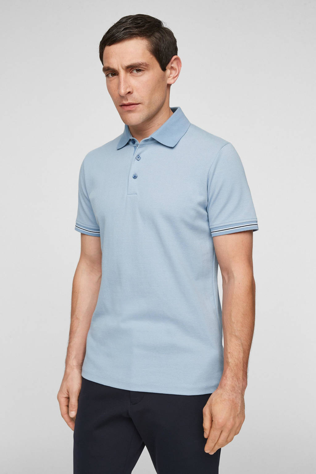 s.Oliver BLACK LABEL regular fit polo lichtblauw, Lichtblauw