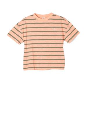 gestreept T-shirt oranje