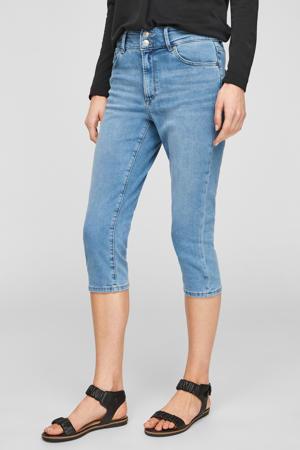 high waist slim fit capri jeans blauw