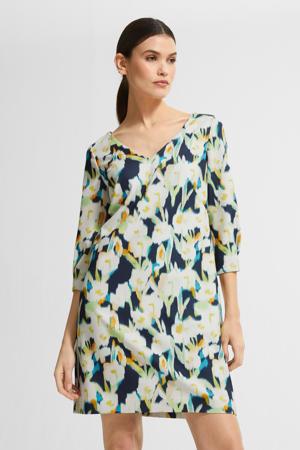gebloemde jurk donkerblauw/geel/groen