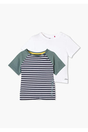 T-shirt - set van 2 streep/uni blauw/wit