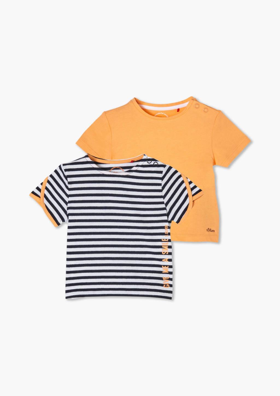 s.Oliver T-shirt - set van 2 blauw/oranje, Oranje/blauw/wit