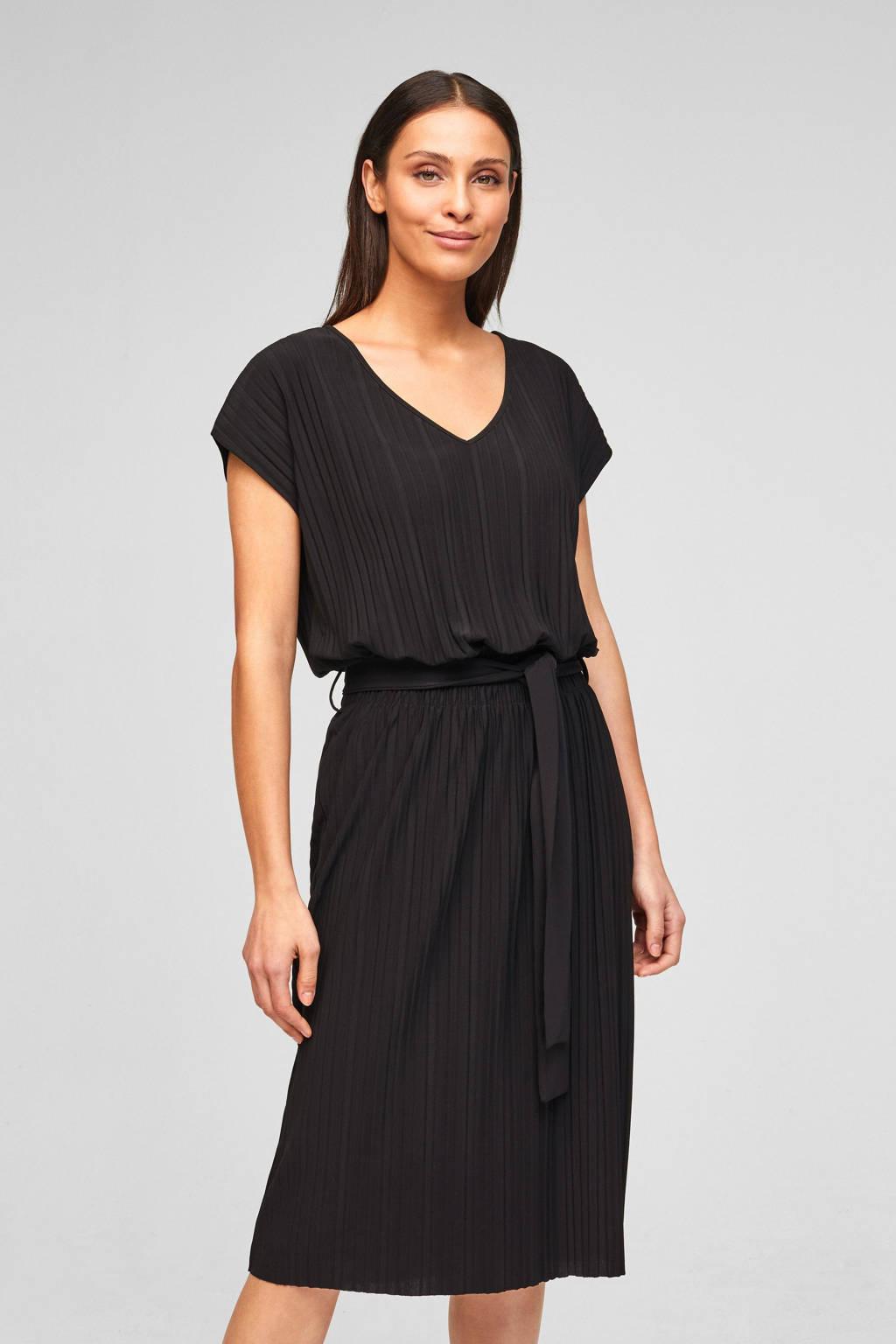 s.Oliver BLACK LABEL jurk met ceintuur zwart, Zwart