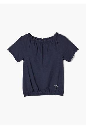 T-shirt met ruches donkerblauw