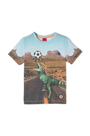 T-shirt met all over print blauw/groen/bruin