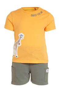 s.Oliver T-shirt + sweatshort oranje/groen, Oranje/groen
