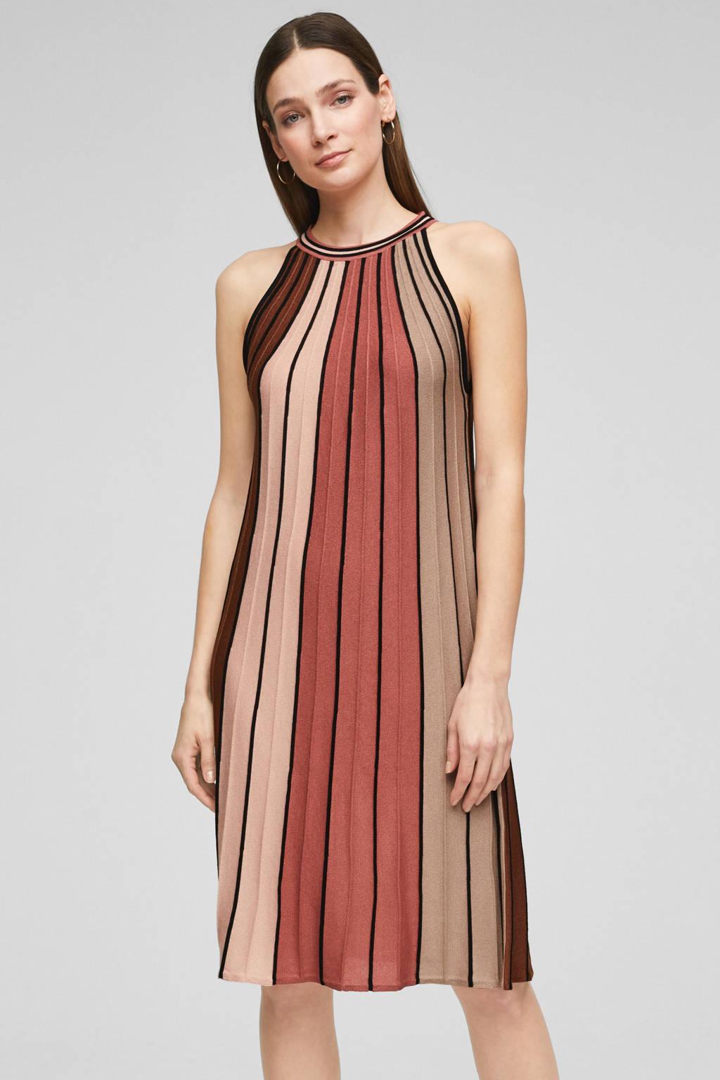 s.Oliver BLACK LABEL halter jurk bruin/rood, Bruin/rood