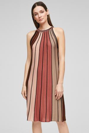 halter jurk bruin/rood