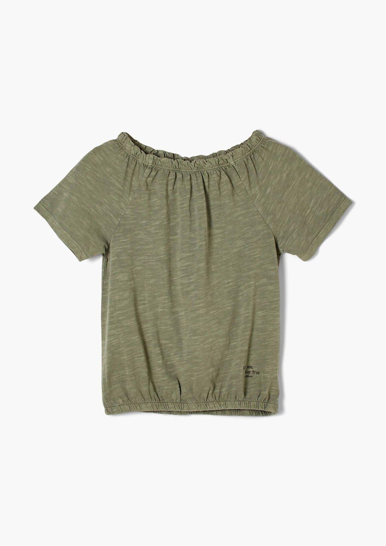 s.Oliver T-shirt met ruches groen, Groen