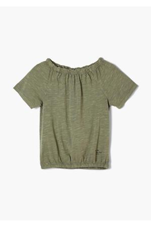 T-shirt met ruches groen