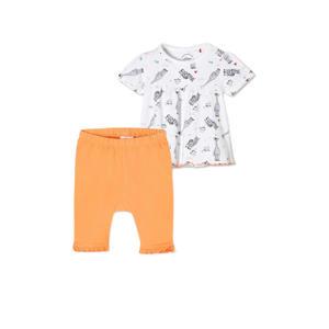 T-shirt + legging oranje/wit