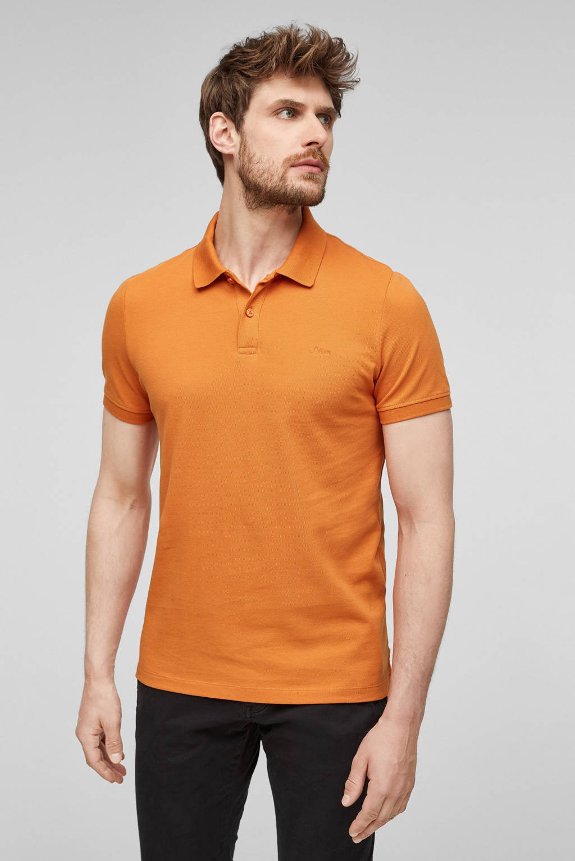 s.Oliver regular fit piqué polo met logo oranje, Donker oranje