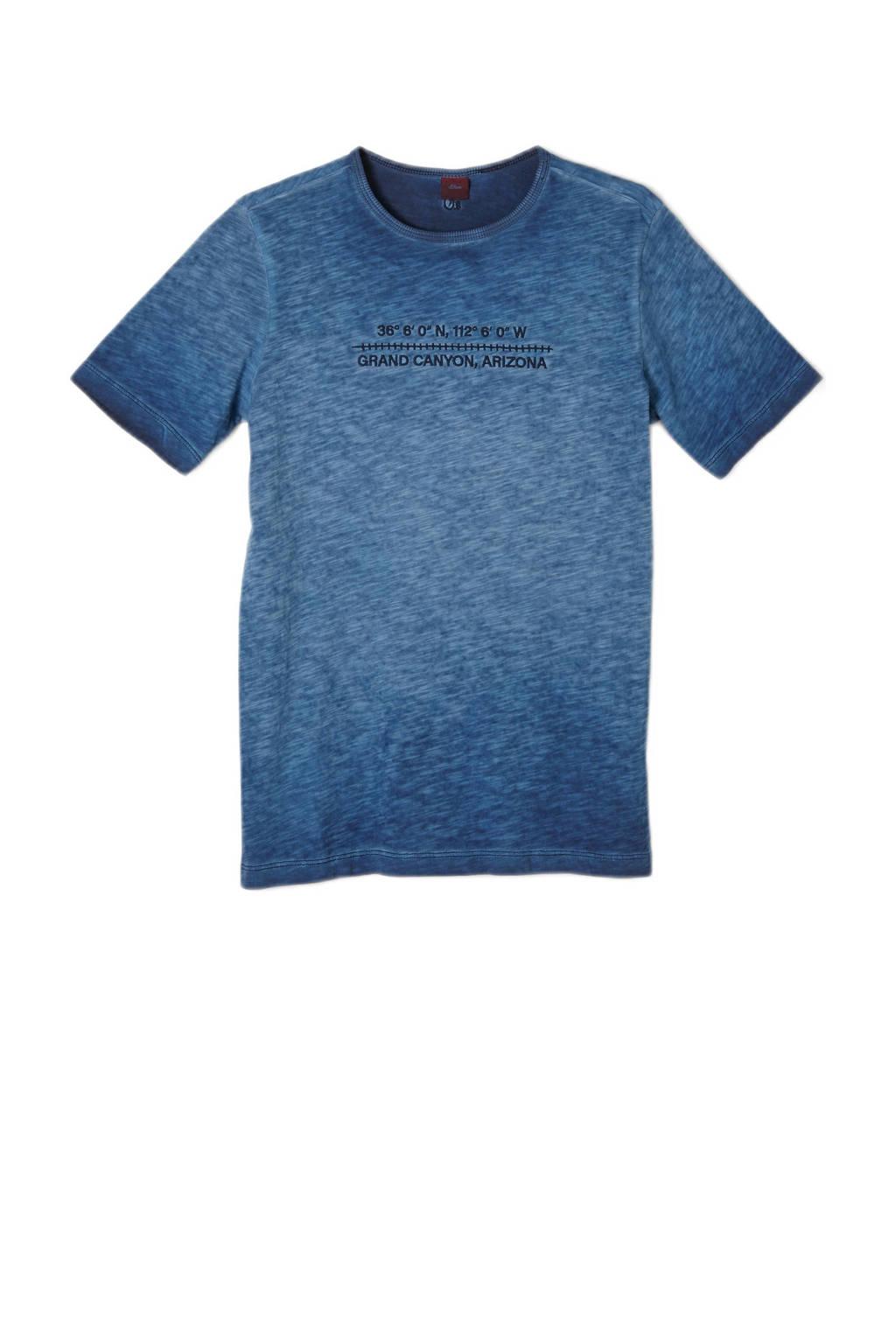 s.Oliver T-shirt met tekst donkerblauw, Donkerblauw