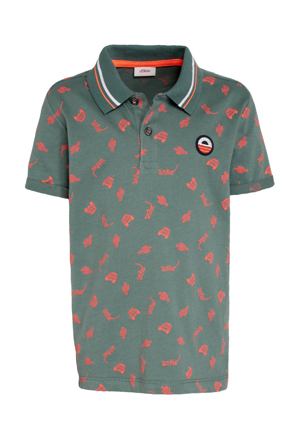 s.Oliver polo met all over print petrol, Petrol