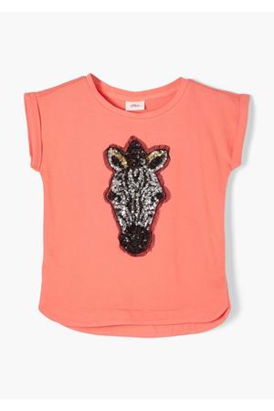 T-shirt met printopdruk en pailletten oranje