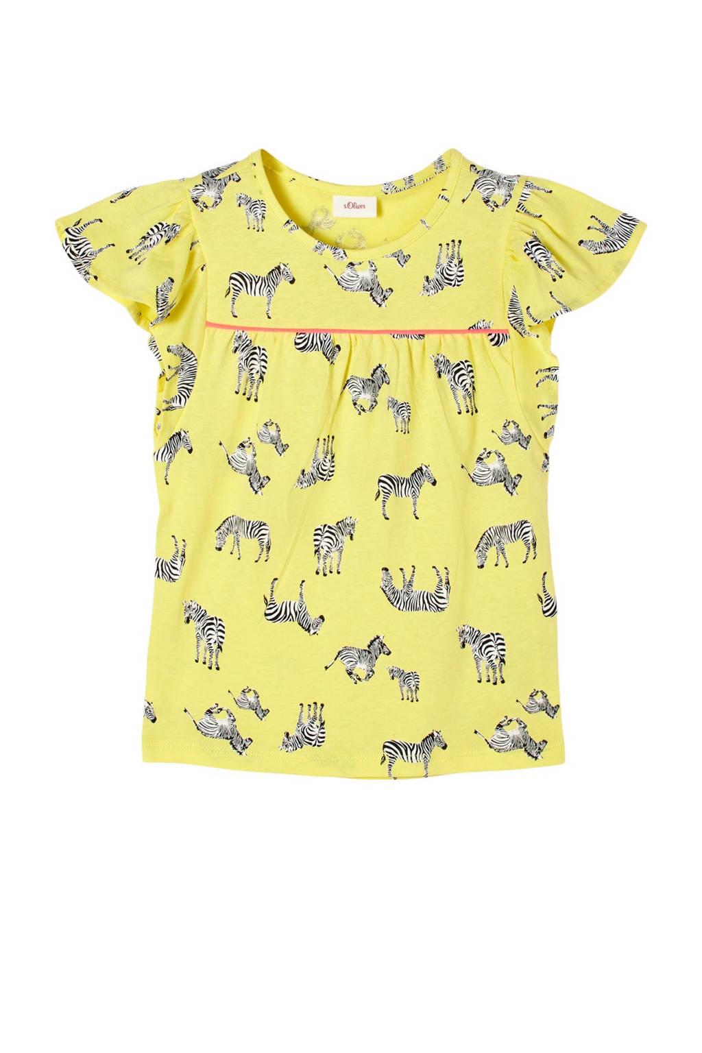 s.Oliver T-shirt met dierenprint en plooien lichtgeel, Lichtgeel