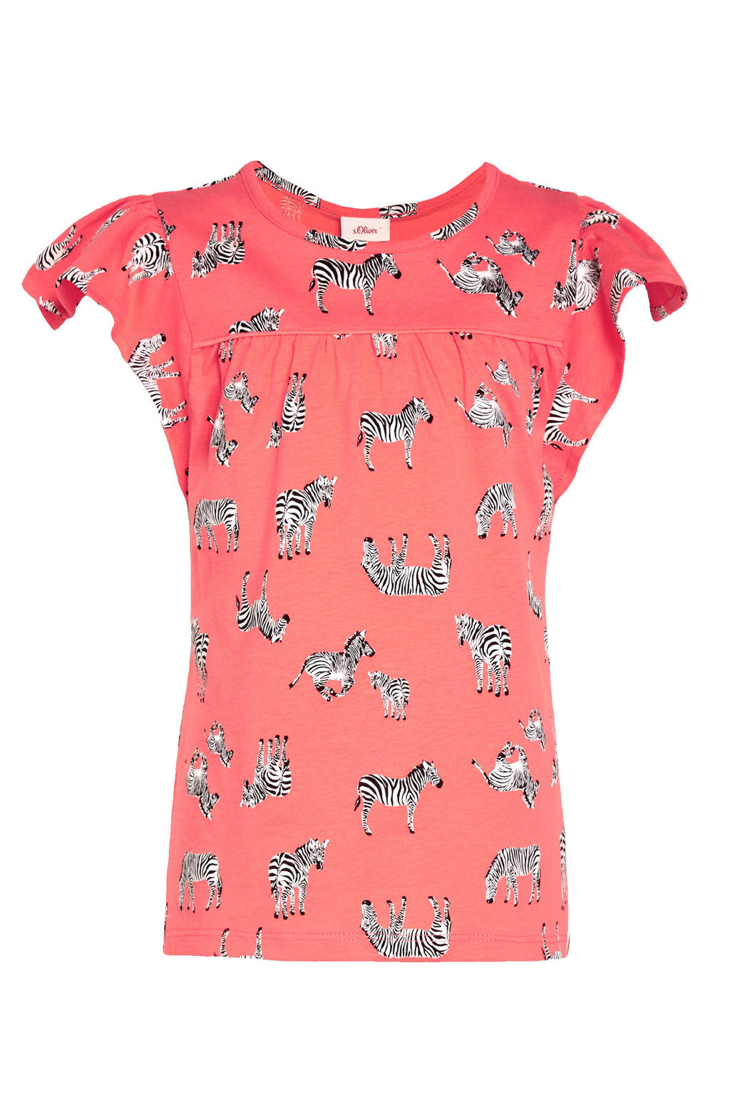 s.Oliver T-shirt met dierenprint en plooien oranje/zwart/wit, Oranje/zwart/wit