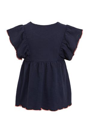 gemêleerd T-shirt met contrastbies en ruches donkerblauw