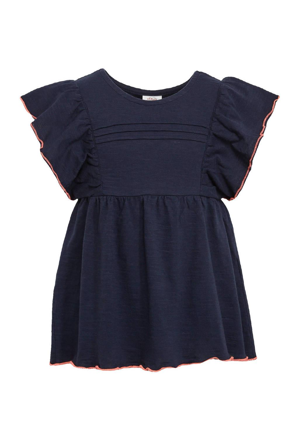 s.Oliver gemêleerd T-shirt met contrastbies en ruches donkerblauw, Donkerblauw