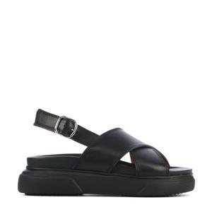 5604049  leren plateau sandalen zwart