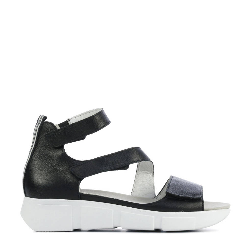 Waldlaufer 757801 comfort leren sandalen zwart, Zwart