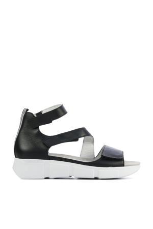 757801 comfort leren sandalen zwart