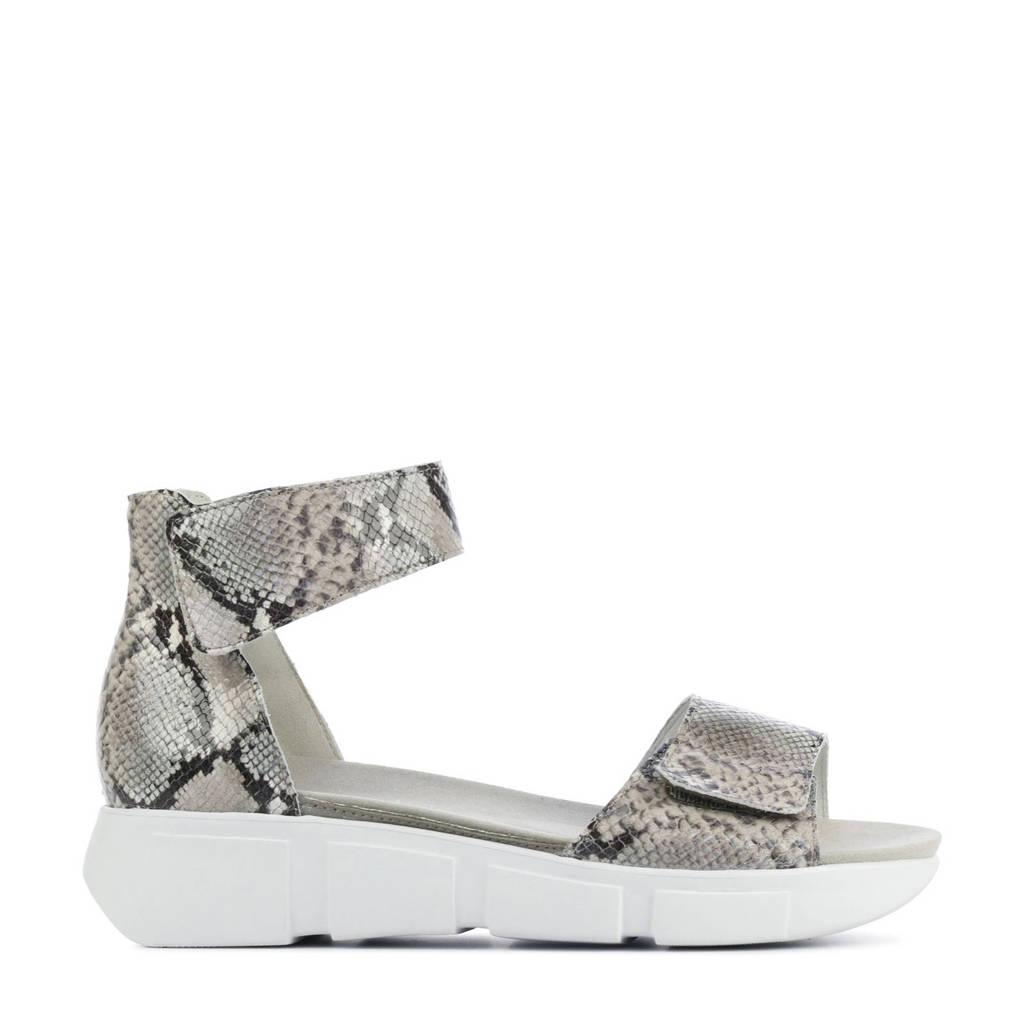 Waldlaufer 757802 comfort leren sandalen met slangenprint beige, Beige
