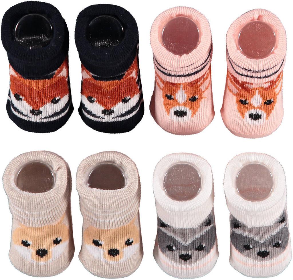 Apollo new born sokken - set van 4 in een geschenkset roze/beige/zwart, Roze/beige/zwart