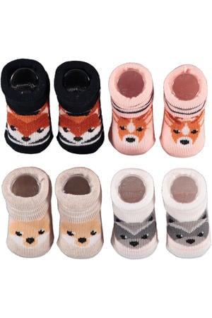 new born sokken - set van 4 in een geschenkset roze/beige/zwart