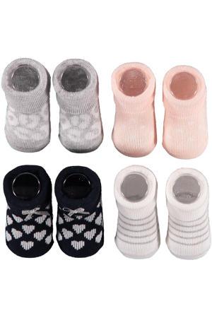 new born sokken - set van 4 in een geschenkset roze/wit/blauw