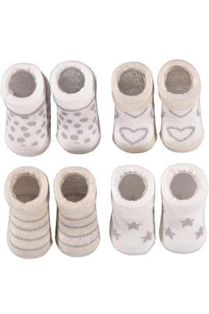 new born sokken - set van 4 in een geschenkset beige/lichtgrijs
