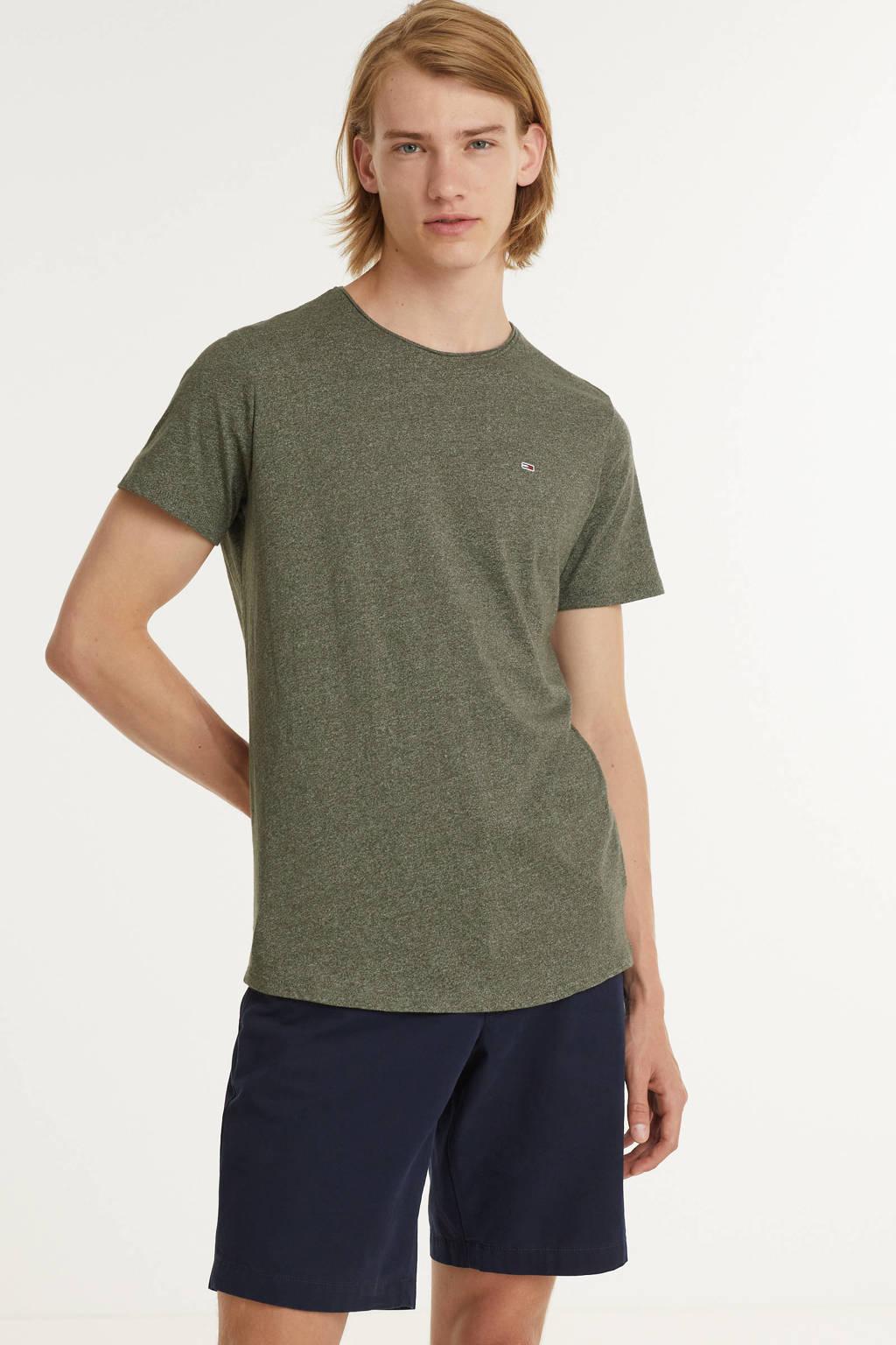 Tommy Jeans T-shirt Jaspe met biologisch katoen dark olive, Dark Olive