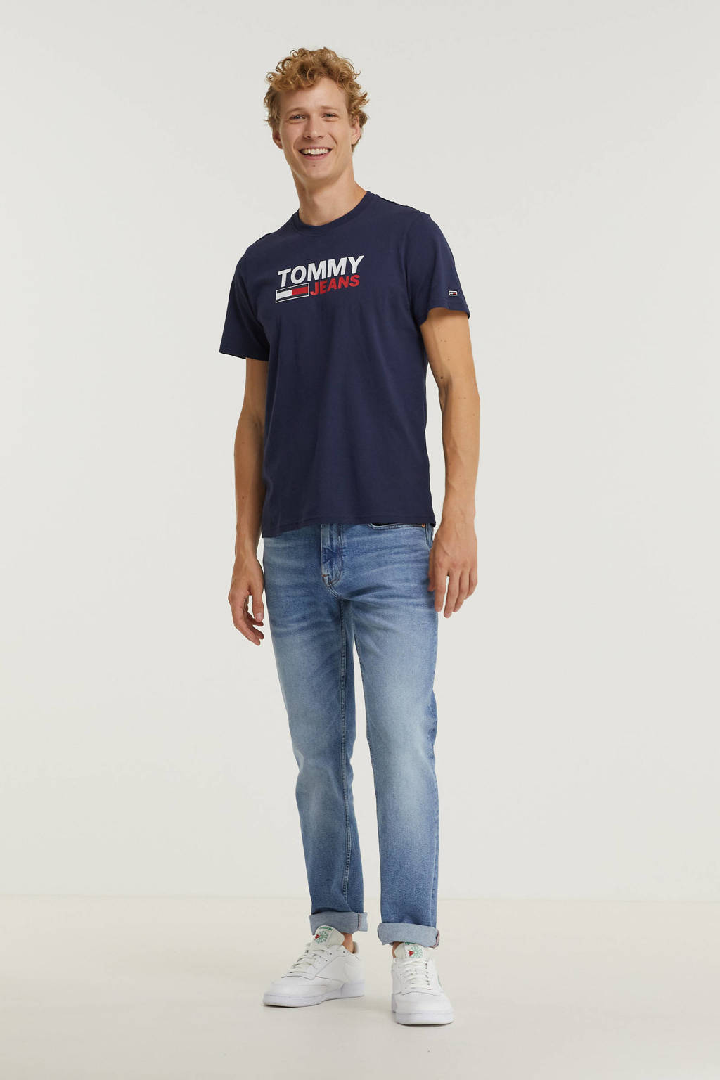 Tommy Jeans T-shirt van biologisch katoen twilight navy, Twilight Navy