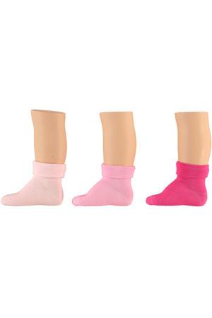baby sokken - set van 6 lichtroze/roze/fuchsia