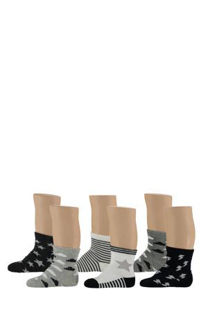 baby sokken - set van 6 zwart/wit/grijs