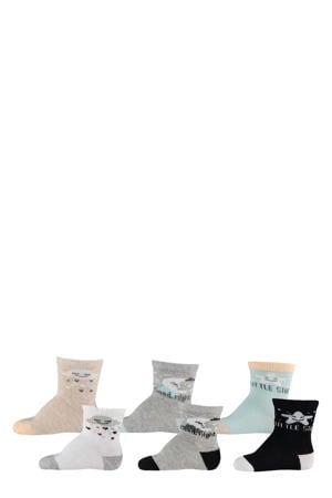 baby sokken - set van 6 beige/grijs/blauw/lichtblauw