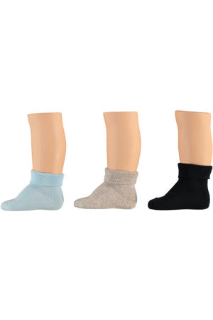 baby sokken - set van 6 blauw/beige/donkerblauw