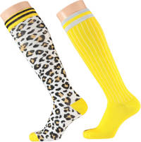 Apollo kinder kniekousen - set van 2 panterprint geel/zwart/wit, Geel/zwart/wit