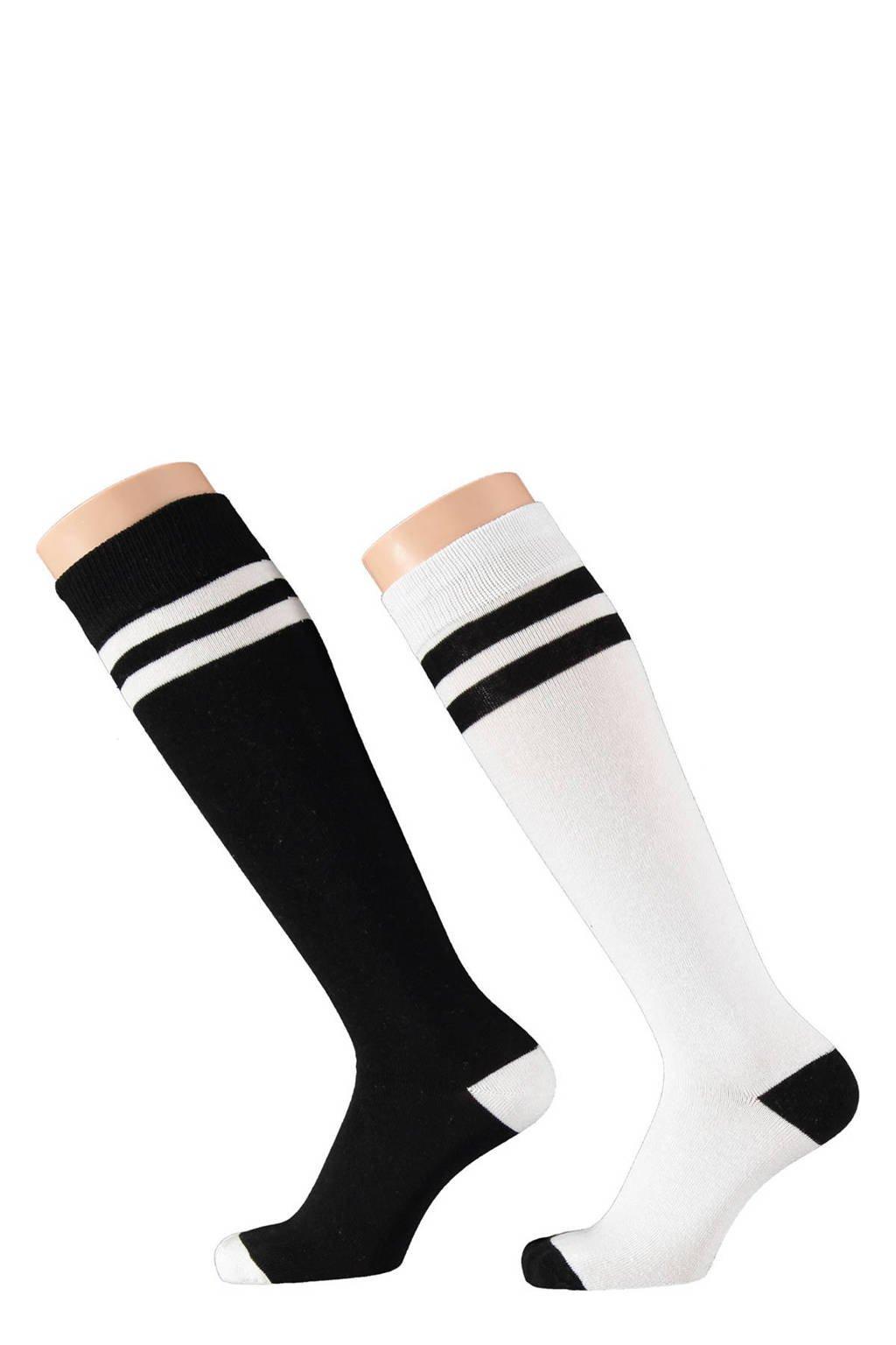 Apollo kinder kniekousen - set van 2 streepprint zwart/wit, Zwart/wit